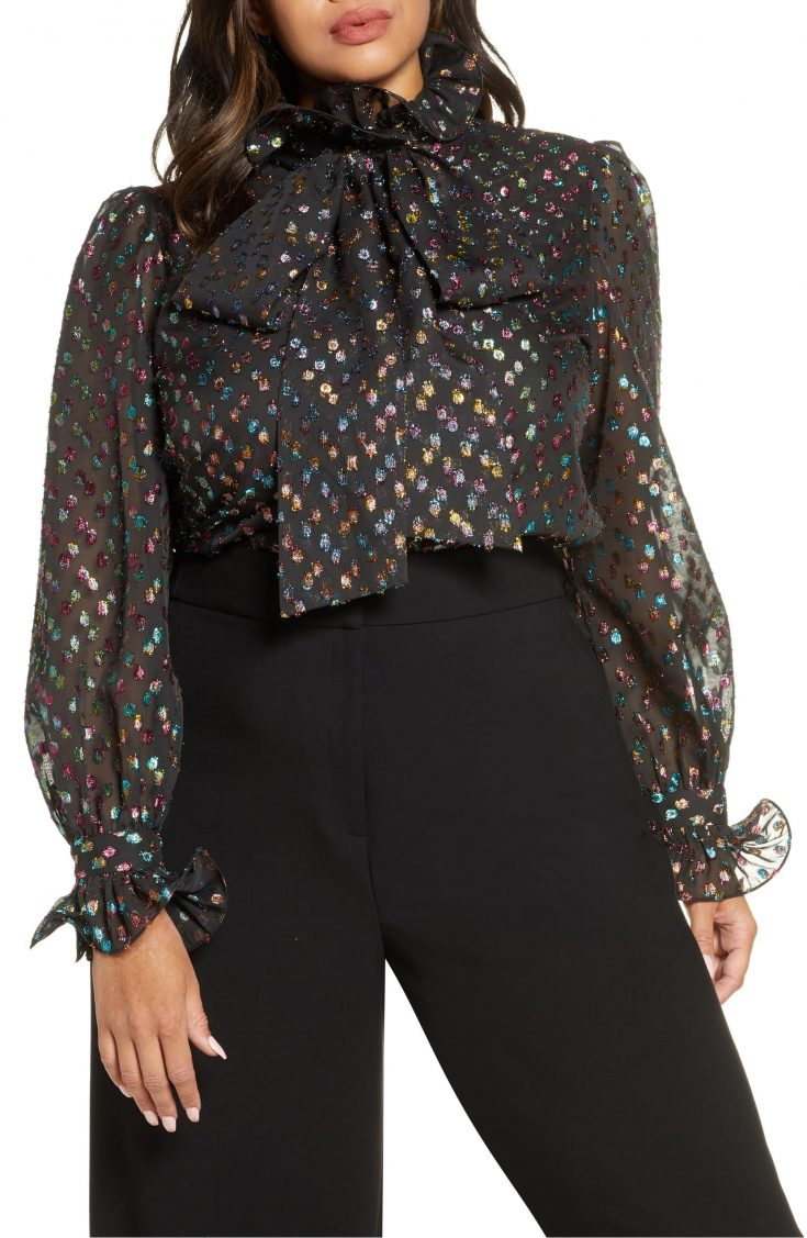 x Atlantic-Pacific Ruffle Bow Metallic Fil Coupé Blouse